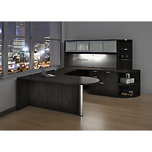 Peninsula U-Desk with Hutch, Combo File, and Radius Bookcases, 8826741
