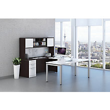Combo Color Reversible U-Desk with White Work Surface and Hutch, 8826774