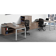 Open Leg 2 Person Workstation with Storage and Bookcase, 8826794