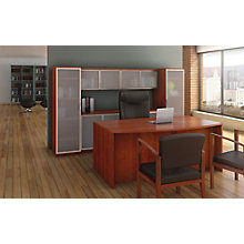 Tempered Glass Wall Bow Front Desk Suite, 8827201