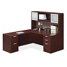 90 Degree Corner Reversible L-Desk with Hutch, 8827219
