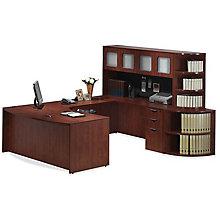 U-Desk with Corner Bookcase and Hutch - Left or Right Return, 8827225