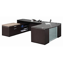 Glass Modesty U-Desk with Cushion Top Lo-Storage - Left or Right Return, 8827458