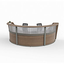 """Curved Triple Reception Station with Plexi - 143""""W x 71""""D, 8827531"""