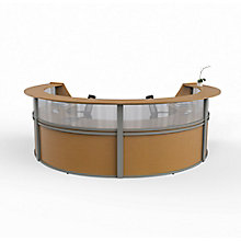 """Curved 4-Unit Reception Station with Plexi - 142""""W x 107""""D, 8827532"""