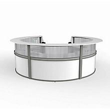 "Curved 5-Unit Reception Station with Plexi - 142""W x 133""D, 8827533"