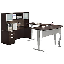 Sit Stand U-Desk w/ Full L-Desk Height Adjustability - Left or Right Return, 8827644
