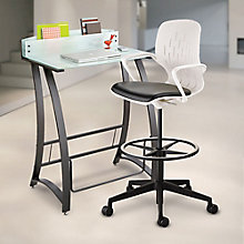 Standing Height Desk with Drafting Stool and Lamp Set, 8828813
