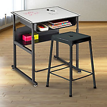 Dry-Erase Adjustable Height Desk and Stool Set, 8828815