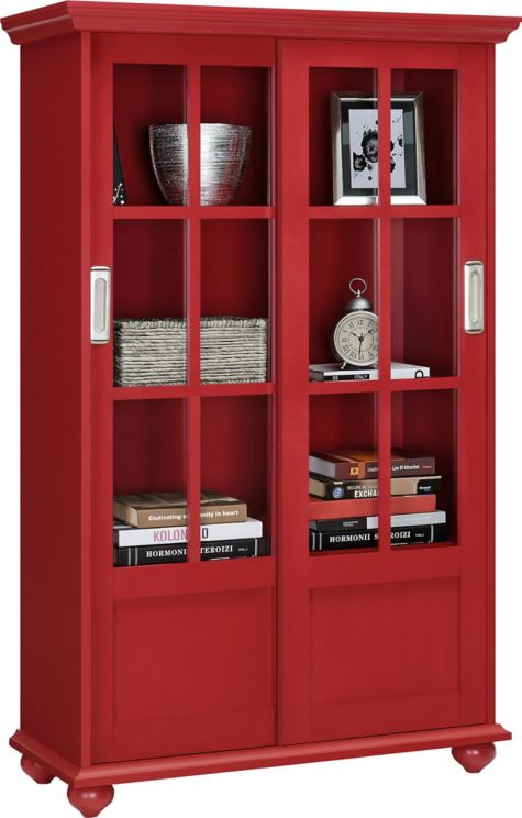 Aaron Lane Bookcase With Sliding Door 31w 8822160