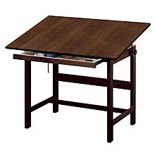 "Titan Solid Oak Drafting Table - Walnut Finish, 48"" x 36"", ALV-WTB48-WA"