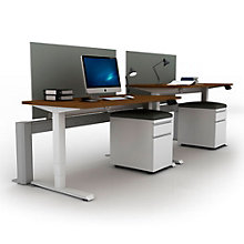 "EZ Lift Adjustable Height Partner Desks with Screens & Mobile Files - 60""W, 8804150"