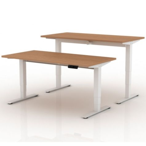 Shown at low and high heights in Teak/White