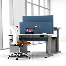 "EZ Lift Adjustable Height Partner Desks with Screens & Mobile Files - 48""W, 8804149"