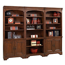 "Windsor 18 Shelf Bookcase Wall with Doors - 96""W, 8803667"