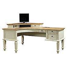 "Coronado Two Tone Curved L-Desk with Corner Hutch - 72""W, 8804896"
