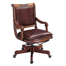 Bordeaux Wood Frame Computer Chair in Leather, 8803613