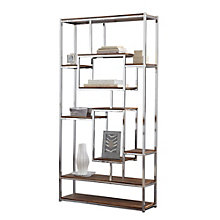 "Alize Chrome Frame Ten Shelf Bookcase - 71""H, 8807695"