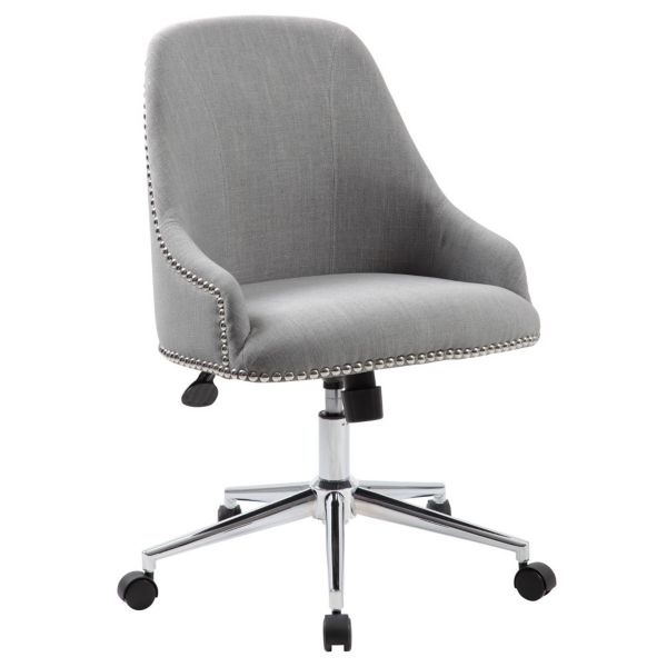 retro office chair in fabric with nailhead trim | officefurniture