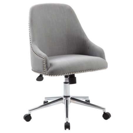 retro office chair in fabric with nailhead trim officefurniture com