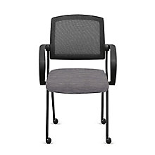 Fabric Nesting Chairs with Arms and Mesh Back - Set of Six, 8808169
