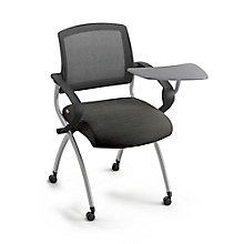 Mesh Back Polyurethane Nesting Chair with Tablet Arm and Oversized Casters, 8808166