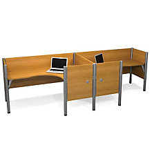 Pro Biz Side-by-Side Double L-Shaped Workstation with End Panels, BES-100856C