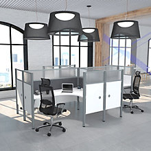 "Pro Biz Four L-Desks with 55.5""H Tack Board Panels, 8804844"
