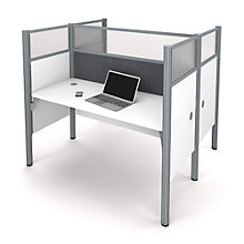 "Pro Biz Double Workstation with 55.5""H Tack Board Panels, 8804846"