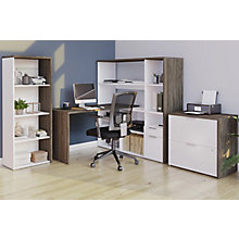 Home Office L-Desk Suite with Bookcase and Lateral File, 8828579