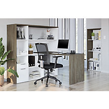 Home Office L-Desk Suite with Bookcase , 8828580