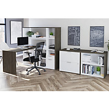 Home Office L-Desk Suite with Bookcase and Storage Unit, 8828581