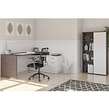 Home Office L-Desk and Bookcase Set, 8828624