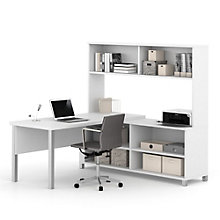 "Pro Linea Metal Leg L-Desk with Hutch - 71.1""W, 8804034"