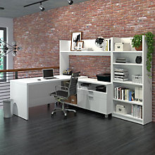 Pro Linea L-Desk with Open Hutch and Bookcase, 8807859