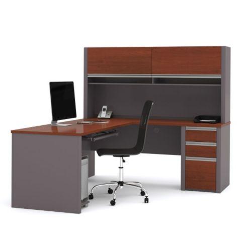 L-desk & hutch in Bordeaux/Slate
