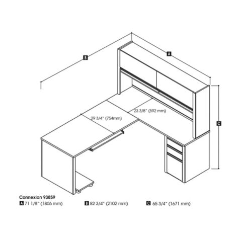 Dimensions of L-desk and hutch