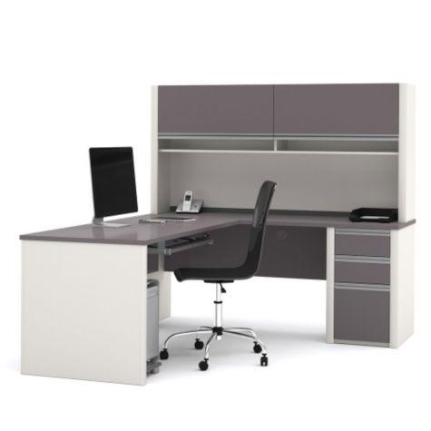 L-desk & hutch in Slate/Sandstone