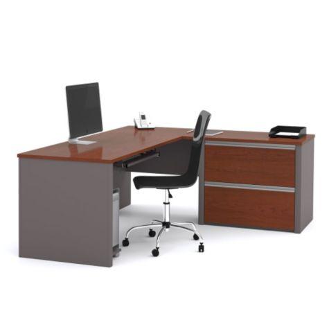 L Desk shown in Bordeaux/Slate