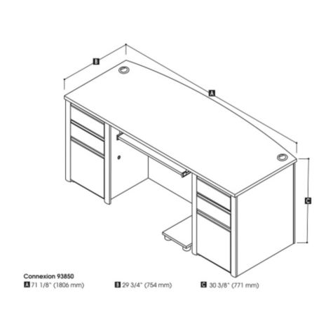 Bowfront desk dimensions