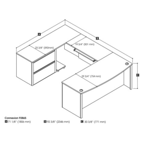 Dimensions of U-desk