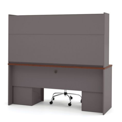 Back view of credenza & hutch in Bordeaux/Slate
