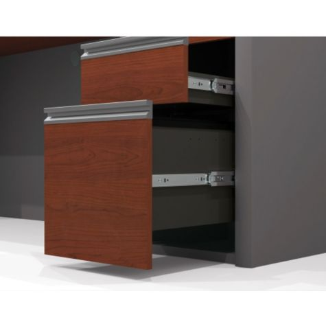 Drawers open smoothly on ball bearing glides
