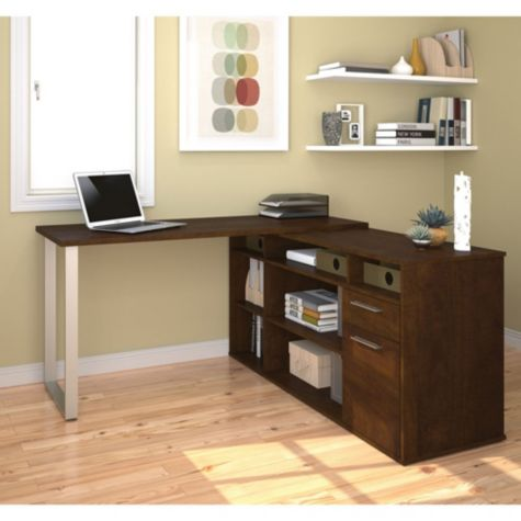 Solay L Shaped Desk W Bookcase Amp File By Bestar