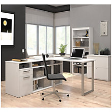 Solay L-Shaped Desk with Bookcase and File, 8807791