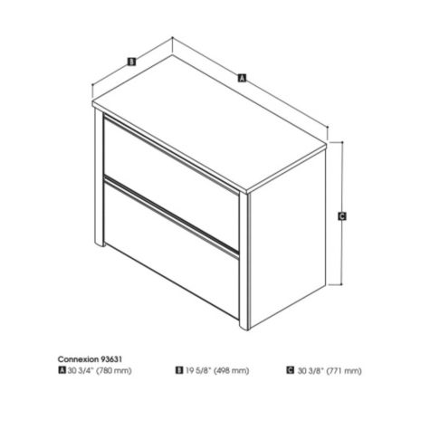 Dimensions 2 drawer lateral file