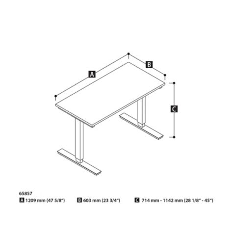 Adjustable height table dimensions