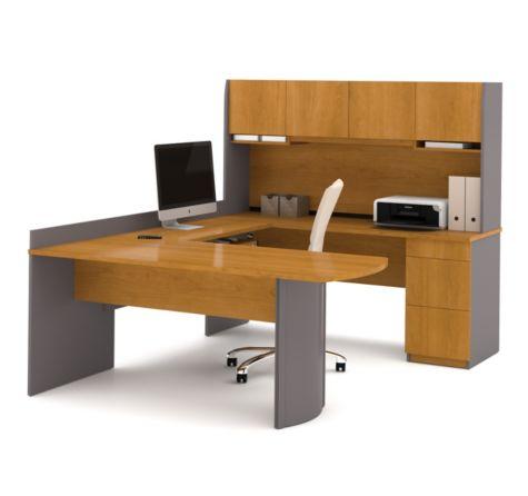 Close Up of U Desk in Cappuccino Cherry