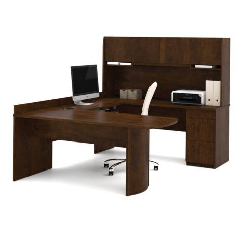 Close Up of U Desk in Chocolate