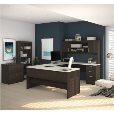 ridgeley ushaped desk with bookcase and file